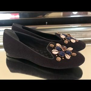 Tory Burch Embellished Navy Canvas Loafers WMS 6 M